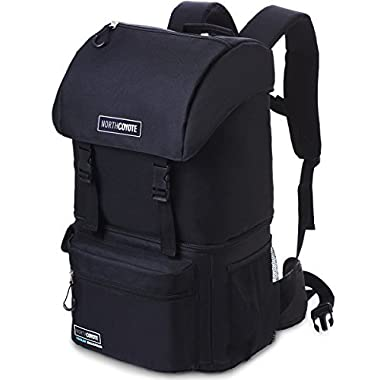 North Coyote Hiking Backpack Cooler Bag - Insulated Large Camping Back Pack for Men Women Travel Picnic & Lunch - For Fishing Hunting & Backpacking - With 2 Ice Coolers