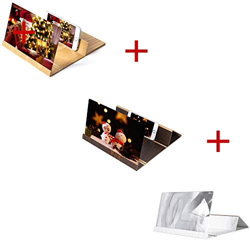 Colmkley 3Pack 3D Phone Screen Magnifier Movie Video Amplifier Stereoscopic Amplifying 12 Inch Desktop Wood Bracket Foldable Holder Stand for All Kinds of Phone Indoor Camping Tourism (Multicolor)