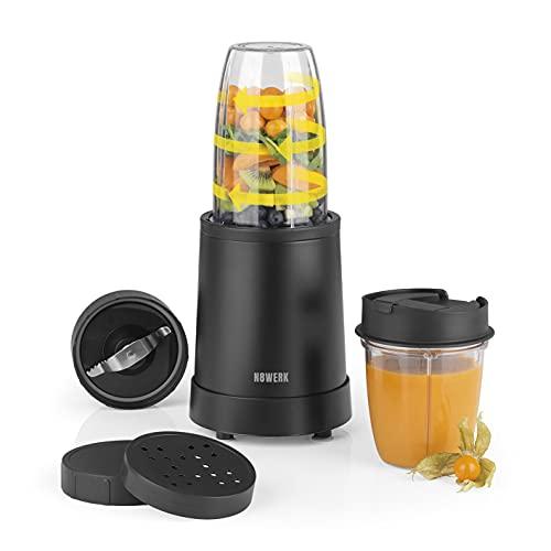 N8WERK Nutrition Mixer in der Midnight Edition | Standmixer | für Smoothies und Cocktails | Ice Crush Funktion | Edelstahlklingen | mit 700 ml und 350 ml Mixbehälter | mit To-Go-Deckel | 800 Watt