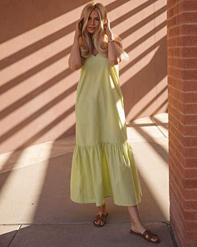 The Drop, Vestito da Donna, Lungo con Volant, Scollo a V e Spalline, Verde Pallido, di @amberfillerup