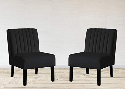 Container Furniture Direct Reese Mid Century Modern Living Room Armless Channel Tufted Accent Chair with Solid Wood Legs, 2 Piece, Black