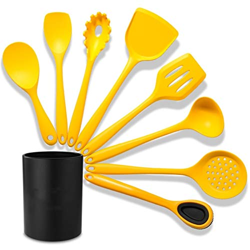 8 PCS Yellow Kitchen Cooking Tools Set with Holder, Silicone Cooking Utensil Sets Nonstick Cookware Set for Countertop Dishwasher Safe