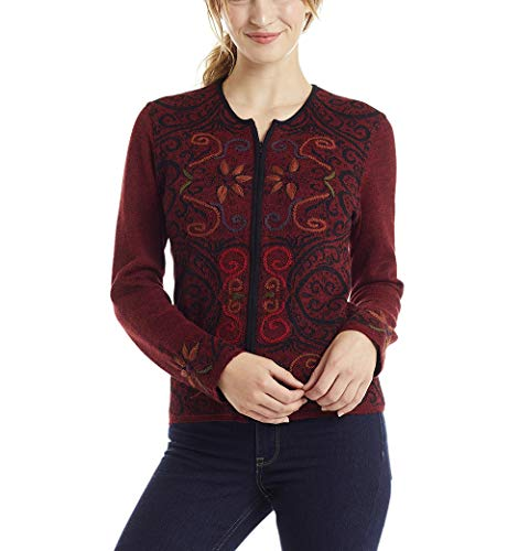 Invisible World Women's Alpaca Sweater Reversible Cardigan Burgundy XS