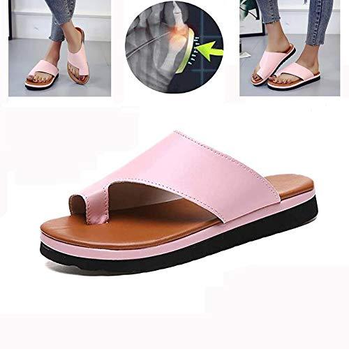 KT Mall Frauen Plattform Sandale Schuhe Mit Bunion Splints, Sommer Strand Reise Schuhe Big Toe Hallux Valgus Unterstützung Plattform Sandale Schuhe Für Bunion Correct,Pink,40