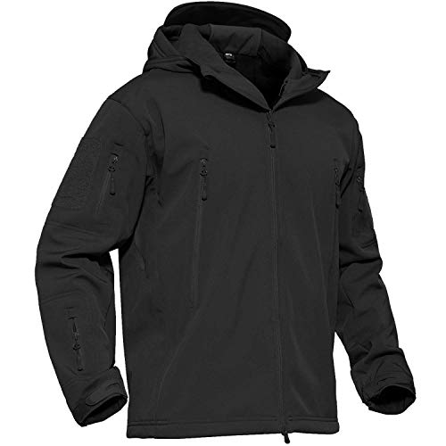 ADAFAZ Hunting Jacket Waterproof Softshell Hunting Suit Camouflage Hoodie Windproof Camo Coat for Men Hunting (Black, US XXL= Tag XXXL)