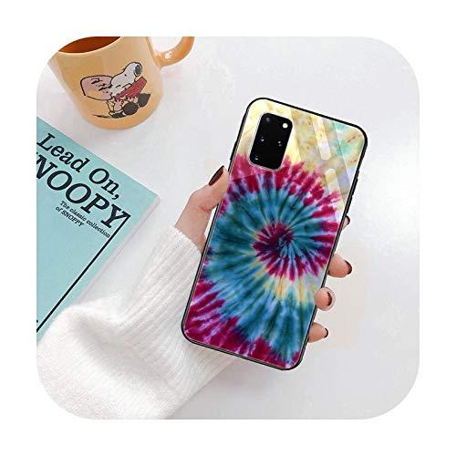 Cubierta de lujo del teléfono de cristal de la manera para Samsung S7 S8 S9 S10 S20 S7 Edge S8 S9 S20 Plus S20 Ultra negro Tie Dye Rainbow-G6-para Samsung S8