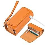 ZITFRI Custodia Protettiva per Sigarette Elettroniche, Compatibile con Iqos 3 e Iqos 3 Duo, Astuccio in Tela e Pelle PU, Iqos Accessori, Arancia
