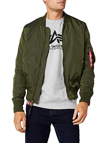ALPHA INDUSTRIES MA- TT Bomber, Verde (Dark Green 257), Large Uomo