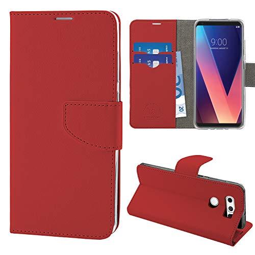 N NEWTOP Cover Compatibile per LG V30 / V30+, HQ Lateral Custodia Libro Flip Chiusura Magnetica Portafoglio Simil Pelle Stand (Rossa)
