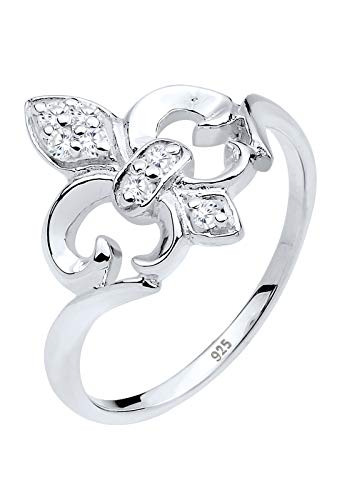 Elli Ring Damen Lilie mit Zirkonia Steinen in 925 Sterling Silber