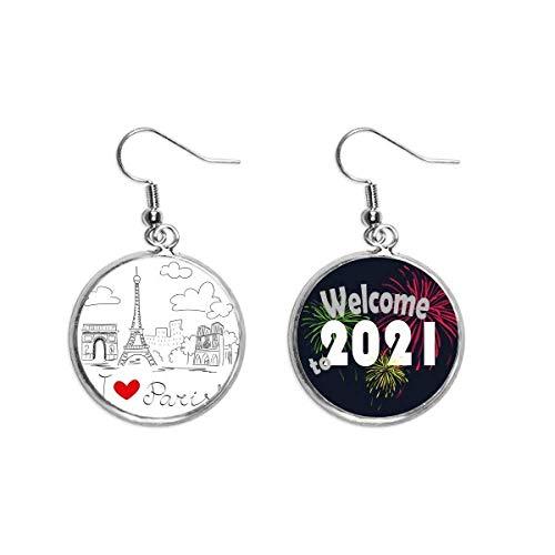 I Love Paris France Eiffel Tower Line Ear Pendants Earring Jewelry 2021 Blessing