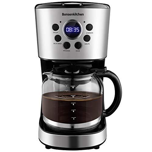 Bonsenkitchen Filterkaffeemaschine mit Timer und Programmierbar, Edelstahl Kaffeemaschine mit 10 Tassen Glaskanne, Kontrolle der Brühstärke, Tropf-Stopp, Abnehmbarer Filter