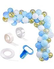 Blå och vit ballonggirlang kit båge, YiRAN 16 fot lång 74 st blåvitt guld ballonger paket båge för flicka födelsedag baby shower möhippor bröllop dekorationer