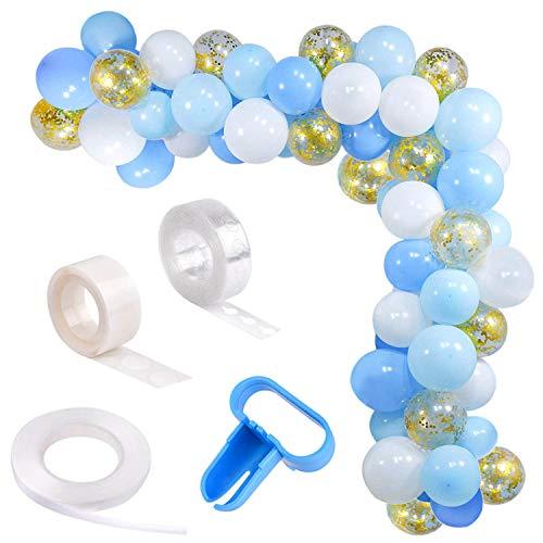 Guirnalda de globo azul y blanco, kit de arco,16 pies de largo, 74 globos de oro azul y blanco paquete de arco para fiesta de cumpleaños de niña, baby shower, despedida de soltera, decoración de boda