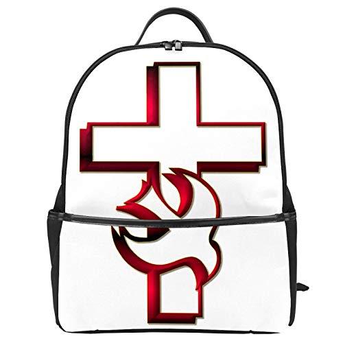Pentecost Holy Spirit Dove Mochila de lona Mochila de gran capacidad, mochila de viaje casual para niños, niñas, niños y estudiantes