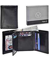 Valenchi-RFID Genuine Leather Trifold Wallet with Flap for Men and Women with 9 card slots,2 Note pocket coin pocket & ID window (Black Italian V.T.)
