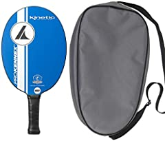 """Pro Kennex Kinnetic system for a softer and comfortable paddle SPECS: 7.7-8.0 oz. Length: 15-5/8 inch, Width: 7-5/8 inch. Grip 3-7/8"""" and 4-7/8 long. Rounder, lower air resistance for faster swing. Gives more power and spin Opti-Code constructin. 7 l..."""