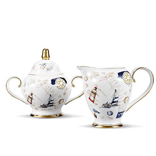 Panbado, Milch und Zucker Set aus Premium Bone China Porzellan, Milchgießer mit Zuckerdose Set für Kaffeeservice