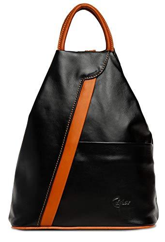 Caspar TL782 2 in 1 Leder Rucksack Handtasche, Größe:One Size, Farbe:schwarz/cognac
