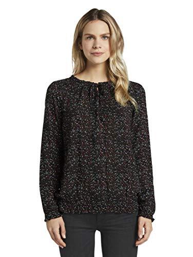 TOM TAILOR Damen Blusen, Shirts & Hemden Gemusterte Carmen-Bluse Black Leaf Allover Print,42