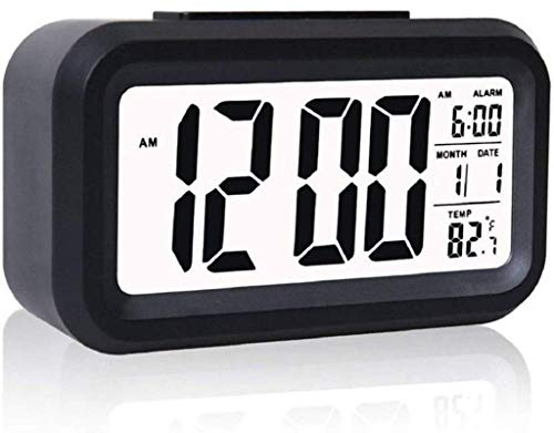 Finalize Digital Smart Backlight Battery Operated Alarm Table Clock with Automatic Sensor, Date & Temperature for Heavy Sleepers, Alarm Clock for Students, Alarm Clock for Home, Alarm - Black