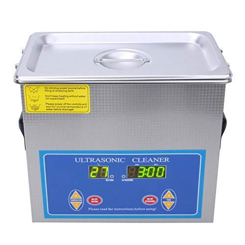 Pulitore ultrasonico, 3,2L Digital Ultrasonic Cleaner in acciaio inossidabile con riscaldatore a LED per occhiali, monete, gioielli, parti industriali, orologi(EU 200-240V)