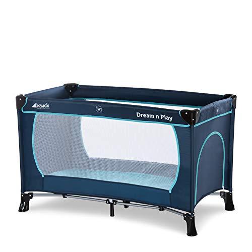Hauck Lit Parapluie Dream N Play Plus / Bébés et Enfants de la Naissance jusqu'à 15 kg / 120 x 60 cm / Léger / Stable / Pliable Compact / Sac de Transport / Sortie Latérale / Bleu
