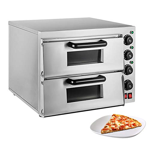 ALDKitchen Pizza Oven | Pizza Maker | Separately Controlled Thermostats | Stainless Steel | 110V (DOUBLE)