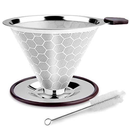 FOXAS Permanenter Kaffeefilter aus Edelstahl, Papierloser Kaffeefilter zur Herstellung von manuellem Kaffee, Wiederverwendbarer Kaffeetropfer mit doppeltem Edelstahlgewebe und Silikongriff
