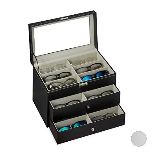 Relaxdays Brillenbox 18 Brillen, Aufbewahrung Sonnenbrillen, HBT: 22,5 x 33,5 x 19 cm, Kunstleder Brillenkoffer, schwarz