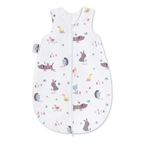 Julius Zöllner Baby Sommerschlafsack aus 100% Jersey Baumwolle, Größe 86, Standard 100 by OEKO-TEX, Crazy Animals
