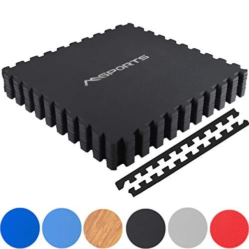 MSPORTS Bodenschutzmatten Set Premium - 8 Schutzmatten 3,175m²   Bodenschutz 60x60 cm Puzzlematten Gymnastikmatte (Schwarz)