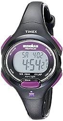 top 10 timex ironman watch Timex T5K523 Iron Man Essential 10 Ladies Watch Medium Black / Purple Resin Strap