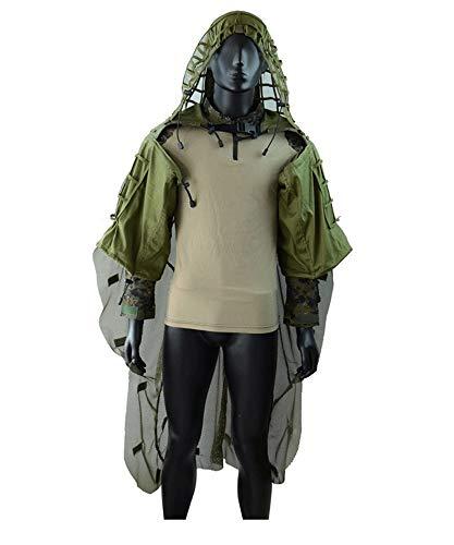 Airsoft traje de camuflaje manto, traje con capucha de vbora Base Red Ghillie Juego de francotiradores Caza Tctica de malla Base Desmontable, adecuada para Airsoft Woodland Juegos Ejrcito Militar
