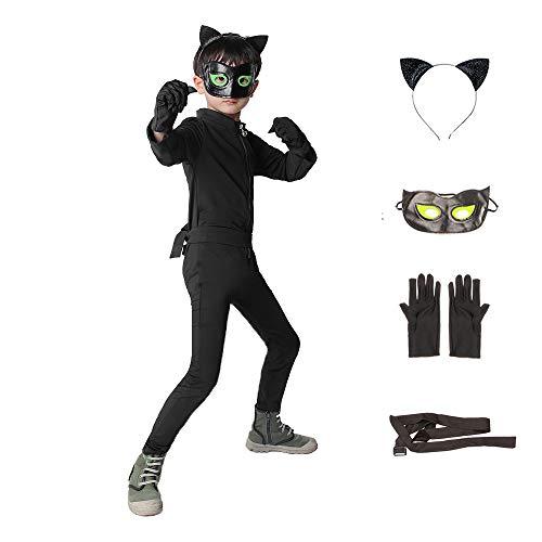 Cat Noir Kostüm Set, Cartoon Cat Noir, Set Jumpsuit Augenmaske Ohr Gürtel Schwanz Schwarz, Jungen Kostüm Jumpsuit Kinder Halloween Karneval Schwarz Overall Cosplay Faschingkostüme (Schwarz, S)