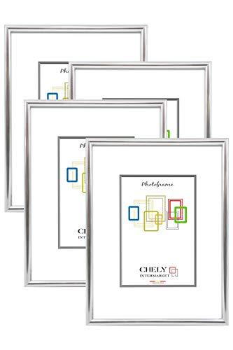Chely Intermarket, Marcos de fotos grandes 40x50cm MOD-311 (Plateado) (Pack 4uds) Decoración de casa | Fotografías de boda, paisajes, listado de precios, certificados universitarios (311-40x50