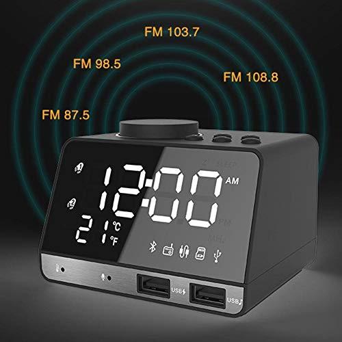 FPRW K11 Bluetooth-luidspreker, met oplaadfunctie met dubbele USB-interface, creatieve muziek, radiofunctie met groot display, Brits stopcontact, zwart