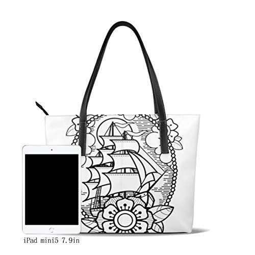 Bolso De Mano Grande para Mujer Mar Barco Flor Nubes Cuerda Tote Bag Shopper Cuero De La PU Bolso De Hombro Gran Capacidad Bolso De Compras Asa Larga