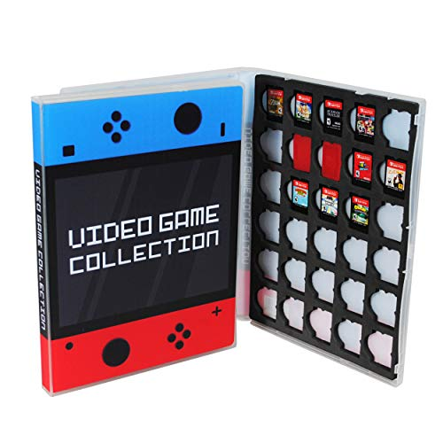 UniKeep Game Case for Nintendo Switch Cartridges - Holds 30 Games Securely in Foam (Blue/Red)