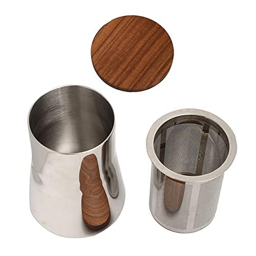 Filtro de harina de cacao, tamiz para polvo de café, acero inoxidable, diseño pulido a espejo con tapa de nogal para hornear