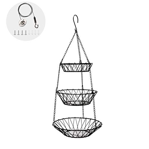 Adjustable Shorter or Longer 3 Tier Fruit and Vegetable Hanging Basket with Sturdy Metal Chain Hanging Hook Heavy Duty Wire Organizer Space Saving Rustic Country Style Kitchen Storage Baskets Black
