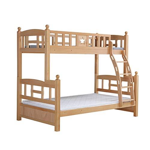 DZWJ Litera Tipo Loft, Marco de Madera Maciza, Muebles de habitación para niños, Muebles de albergue, Cama para niños, Marco de Cama de Madera con Escalera
