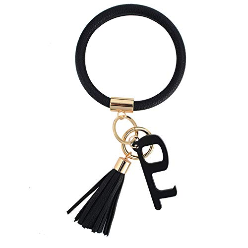 Coolcos Large Circle Bangle Keychain Touchless Door Opener Clean Key Germ Multitool Holder Upgraded Keyring Wristlet Bracelet - Black - XL