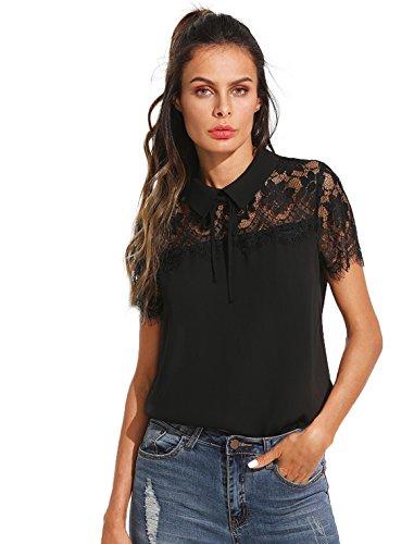 Floerns Women's Peter Pan Collar Lace Neck Short Sleeve Blouse Top A Black XL