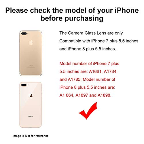 2 Pack Afeax OEM Rear Back Camera Glass Lens Replacement for iPhone 8 Plus and iPhone 7 Plus Original with Adhesive and Repair Tools