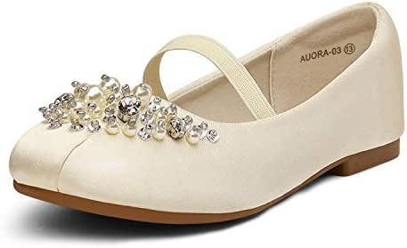 DREAM PAIRS Little Kid Aurora 03 Ivory Satin Girl s Mary Jane First Communion Flat Shoes Size product image