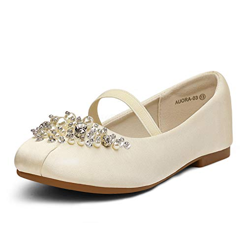 DREAM PAIRS Little Kid Aurora-03 Ivory Satin Girl's Mary Jane First Communion Flat Shoes Size 1 M US Little Kid