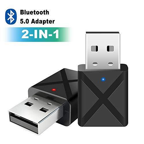 Bluetooth Adapter,Bluetooth 5.0 USB Dongle USB Audioadapter Wireless 2 in 1 Transmitter und Empfänger,Bluetooth Adapter für PC TV Kopfhörer Autoradio