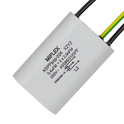 Entstörkondensator 0,4µF + 2x 2,5nF 250V X2 Y2 Miflex KSPPpzp-024 0,4uF 0,0025µF