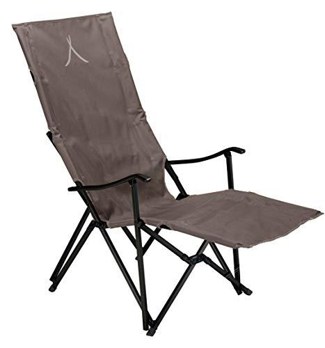 Grand Canyon EL Tovar Lounger - Campingstuhl, Klappstuhl mit Armlehne, hoher Rückenlehne & Fußstütze - bis 100 kg - Aluminium - Falcon (braun)